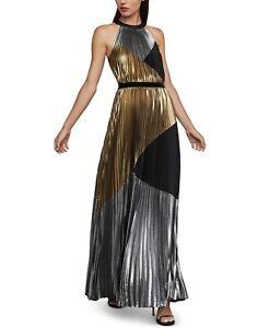 BCBGMAXAZRIA Metallic Colorblocked Gown Women's Size Medium 83310