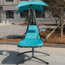 Hanging Chaise Lounger Chair Swing Hammock Chair Canopy 275Lbs for Patio Beach