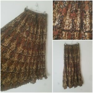 Vintage Boho Brown A Line 100% Cotton Indian Floral Maxi Skirt Size 12/14 Gypsy