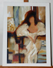 Ludmila Curilova Lady in White Dress Acrylic on Paper Painting Listed Artist