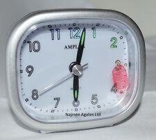 Amplus Sweep Movement Beep Alarm Silver Dial White Face Luminious Clock PT182