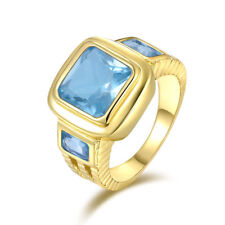 18K GOLD EP 2.5CT AQUAMARINE EMERALD CUT MENS RING size 8 - 12 you choose