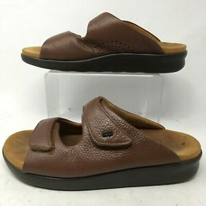 SAS Tripad Comfort Womens 9W Slide Wedge Casual Comfort Sandal Brown Leather