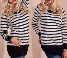 Flauschig Damen Long Pullover Streifen Kuschel Pulli 34/36/38 schwarz weiß TOP