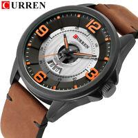 CURREN Men Quartz Watch Casual Leather Strap Wristwatch Calendar Male Watches