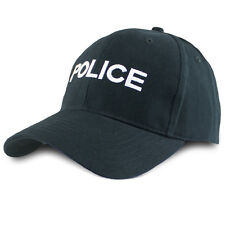 Mens Low Profile British Police Embroidered Writing Fancy Dress Cap Hat Black