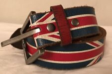 British Great Britain. Union Jack Men's LEATHER Belt. Size 34. 2-1276UK 13987