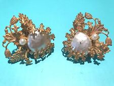 ❤️VINTAGE SIGNED MIRIAM HASKELL EARRINGS GOLD ORNATE BAROQUE PEARL CLIP SCREW❤️
