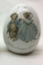 "Porcelain Egg ""Love Adds a Happy Glow"" Signed K Lawrence Vtg 1975 Mice"