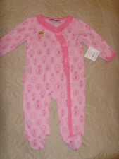 New Juicy Couture Infant/Baby Girl 1pc cotton pink footie footed bodysuit 3-6 M