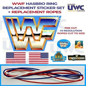WWF HASBRO RING REPLACEMENT STICKERS & ROPES - SELF ADHESIVE STICKERS WWE WCW