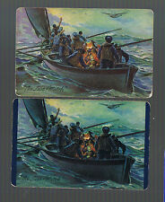 """Playing Swap Cards 2 GENUINE VINT NAMED""""THE LAST MATCH"""" IN DISTRESS ON BOAT #250"""