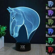 CAVALLO PER TESTA 3D LED 7 Colore Luce Notturna Scrivania Lampade Regalo