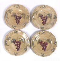 "4 Noble Excellence Meritage Salad Plates 8-3/4"" Grape Vine Design in Rich Colors"