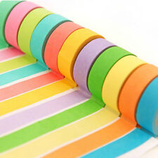 10 Rolls Paper Washi Masking Tape Candy Colors Sticky Craft Adhesive Label L7F9