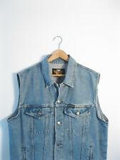 HARLEY DAVIDSON | Men's RETRO Blue Denim Sleeveless Biker Jacket Vest | L