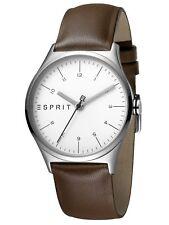 Esprit Essential Silver Brown - L Uhr Damenuhr Lederarmband Braun ES1L034L0025
