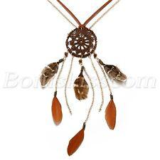 Women Retro Handmade Bohemian Feather Tassel Pendant Long Sweater Chain Necklace