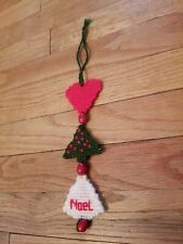 Red Green Wooden Metal Sled Christmas Tree Ornament Season's Greetings Holly HTF