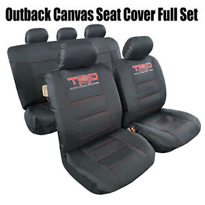 For Tacoma 1998-2021 Waterproof Durable Black Canvas Car Seat Covers Full Set
