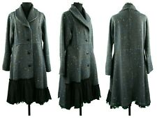 Women Ladies Winter Warm Outer Wear Collared Front Button Lace Hem Coat Jacket