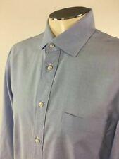 Borrelli Button Front Shirt S Blue Oxford Napoli Spread Collar Mens