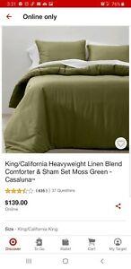 CASALUNA King Heavyweight Linen Blend Comforter and Sham Set MOSS Green