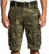 Affliction Black Premium - NEGOTIATE - Men's Cargo Shorts - Military Camo Green