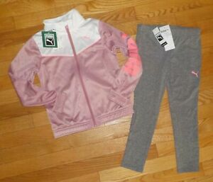 Puma Little Girls Leggings Track Jacket Athletic Outfit Set 4 6 6X Gray Pink NWT