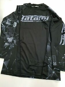 New Tatami Essentials Black Fractal  MMA BJJ Jiu Jitsu Long Sleeve LS Rashguard