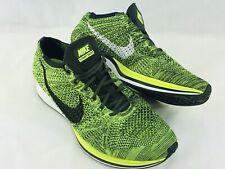 Nike Flyknit 2.0 Racer 526628-731 Volt Black Running Shoe Sneaker Mens 11 WAFFLE