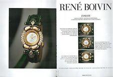▬► PUBLICITE ADVERTISING AD MONTRE WATCH René BOIVIN 2 pages 1992