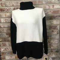 Tommy Hilfiger Women Size Small S/P Black White Pullover Turtleneck Sweater