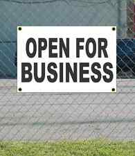 2x3 Open For Business Black & White Banner Sign Discount Size & Price Free Ship