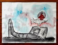 "LEONORA CARRINGTON 22.5"" x 18"" GOUACHE ON PAPER PAINTING"