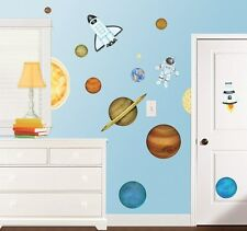 OUTER SPACE GiaNT WALL DECALS NeW Planets Stars Rockets Stickers Boys Room Decor