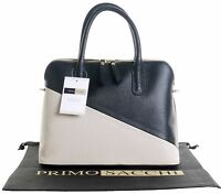 Italian Textured Leather Bowling Style Handbag Tote Grab Bag or Shoulder Bag.