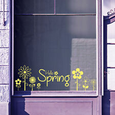 Hello Spring Time Greetings Vinyls Shop Window Display Wall Decals Stickers B16