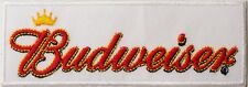 Budweiser White Badge Embroidered Patch Sew/Iron - on 11.5cm x 4cm