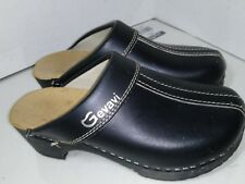 Gevavi Black Leather Wood Clogs Split Toe Womens Size 37