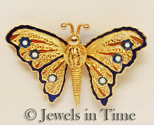 18k Yellow Gold & Enamel Butterfly Brooch