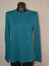 Central Park West Women's Long Sleeve T-Shirt-TEAL-Medium-NWT