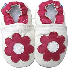 carozoo daisy white 6-12m soft sole leather baby shoes