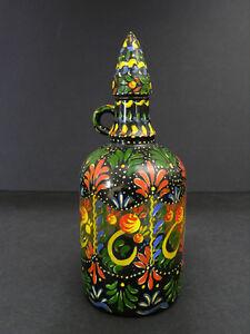 1940-50s Pennsylvania Dutch Flowering Folk Art 1/2 Gallon Glass Jug Hand Painted