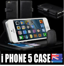 Apple iPhone 5 5S 5 SE Leather Case Black Credit ID Card Flip  Wallet Cover New