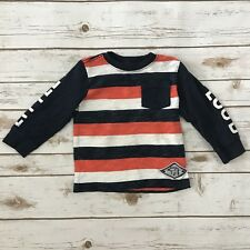 GYMBOREE Boys Size 18-24m Blue White Orange Striped Long Sleeved Top Tee Shirt