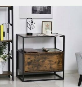 @ 2 Tier Industrial Side Table With Desk Storage Drawer And Open Shelf 9:21