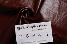 Sm scrap leather hide: Cherry Cola. Small grain, high sheen. Appx 4sqft D8S4-5