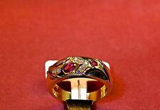 Ring 750/- Gelb+Weißgold, 2 Rubine-oval, 7 Brillanten 0.09ct. W-56 1/2.