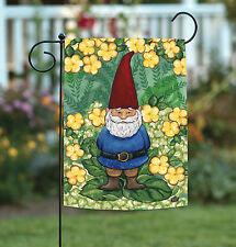 Toland Garden Gnome 12.5 x 18 Cute Spring Green Yellow Flower Garden Flag